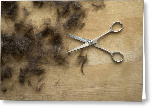 Hair And Scissors On Table Greeting Card by Matthias Hauser