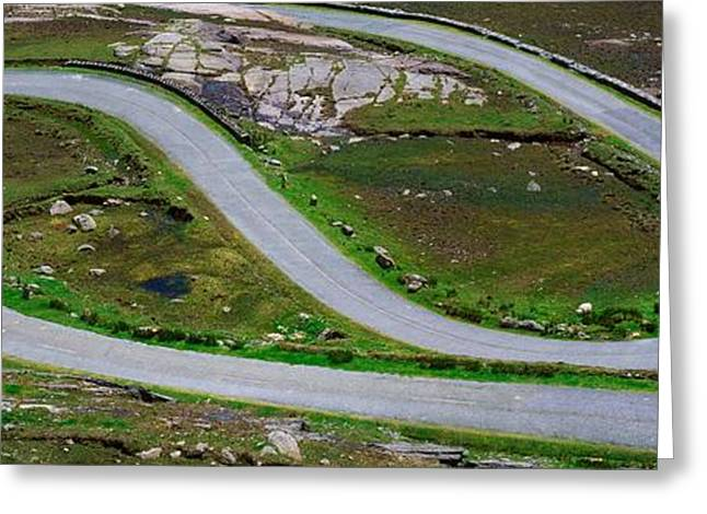 Hairpin Bends In The, Healy Pass, Beara Greeting Card by The Irish Image Collection