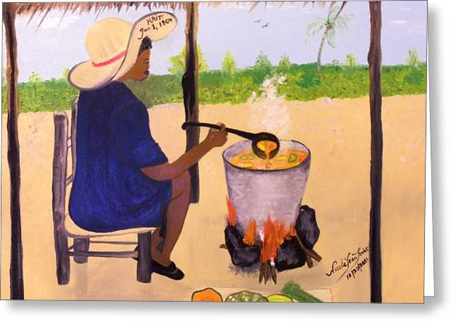 Haitian Pumpkin Soup Greeting Card by Nicole Jean-Louis