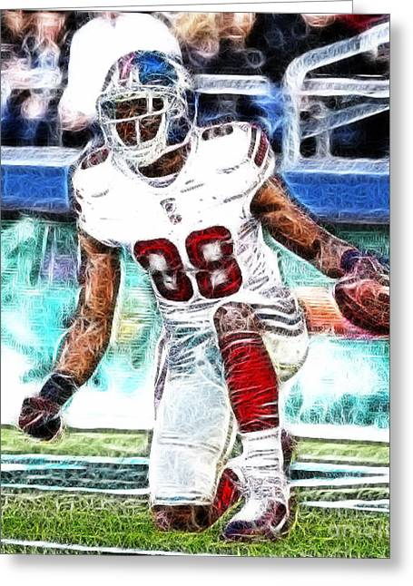 Hakeem Nicks - Sports - Football Greeting Card by Paul Ward