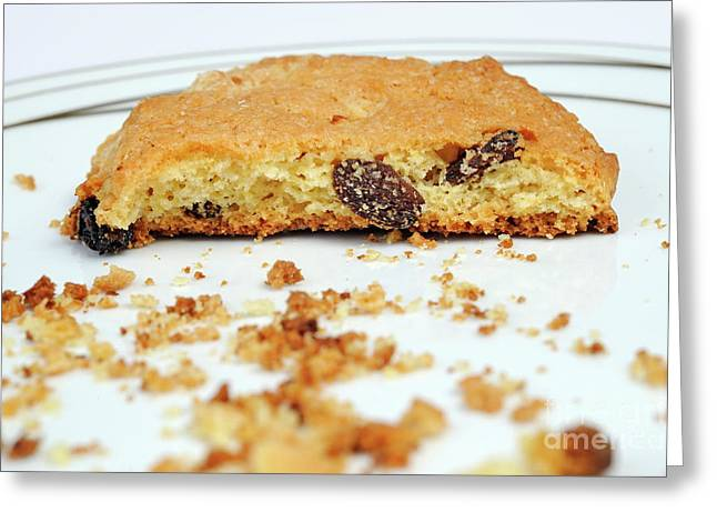 Half Cookie And Crumbs In Plate Greeting Card by Sami Sarkis