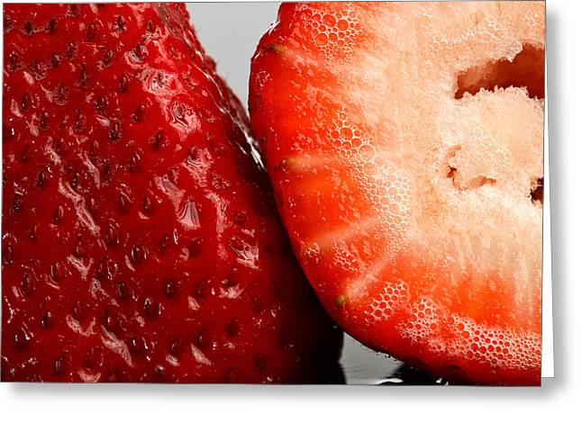 Half Cut And Whole Strawberries Greeting Card by Mark Duffy