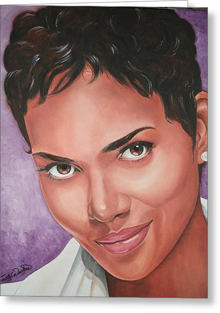Halle Berry Greeting Card by Timothe Winstead