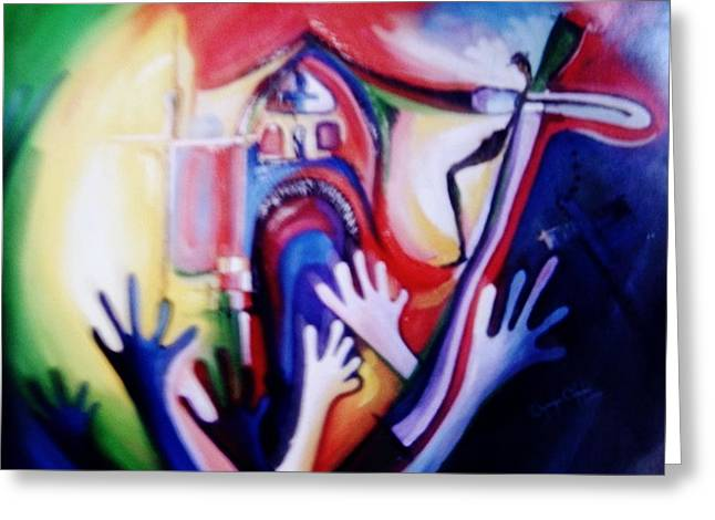 Greeting Card featuring the painting Hallelujah At Cathedral by Oyoroko Ken ochuko