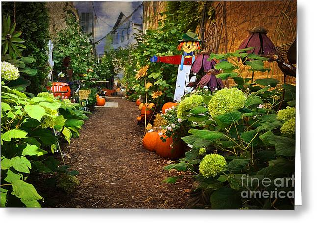 Halloween Alley Greeting Card by Mary Machare