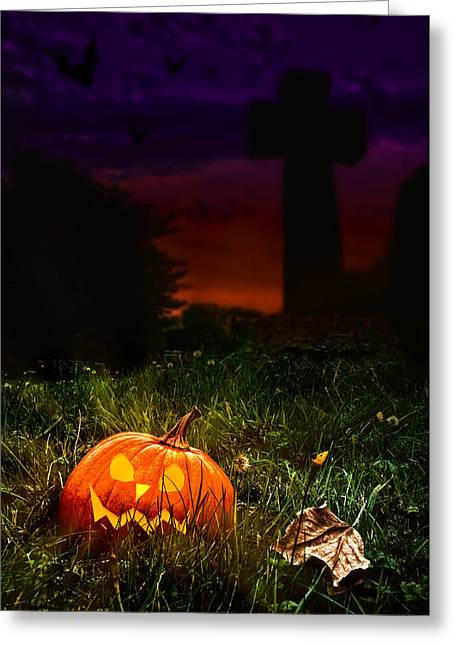 Halloween Cemetery Greeting Card by Amanda Elwell