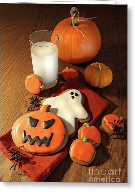Halloween Cookies With A Glass Of Milk Greeting Card by Sandra Cunningham
