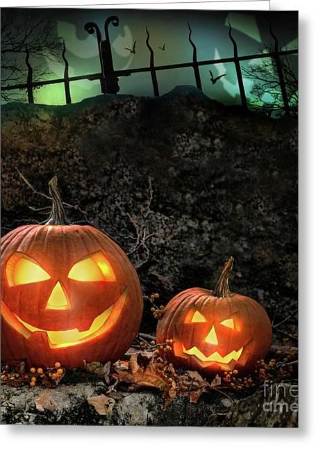 Halloween Pumpkins On Rocks  At Night Greeting Card by Sandra Cunningham