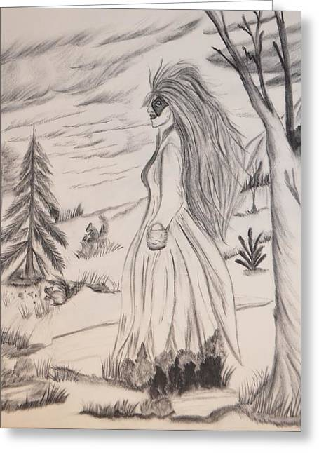 Greeting Card featuring the drawing Halloween Witch Walk by Maria Urso