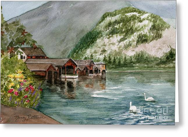 Greeting Card featuring the painting Hallstatt In The Spring  by Nancy Patterson