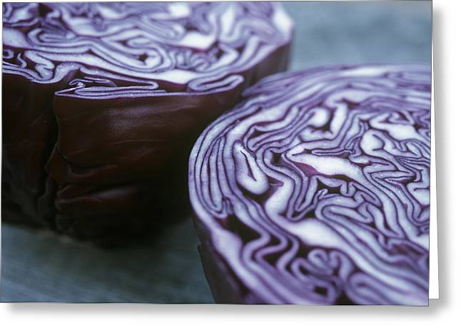 Halved Red Cabbage Greeting Card by Maxine Adcock