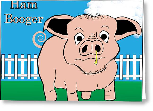 Greeting Card featuring the digital art Ham Booger by John Crothers