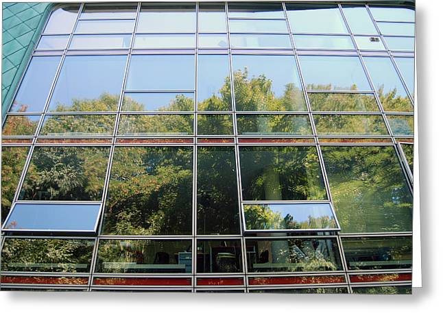 Hamburg Building Reflection Greeting Card by Eva Kaufman