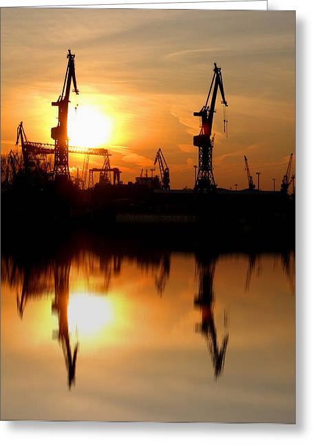 Greeting Card featuring the photograph Hamburg Docks by David Harding