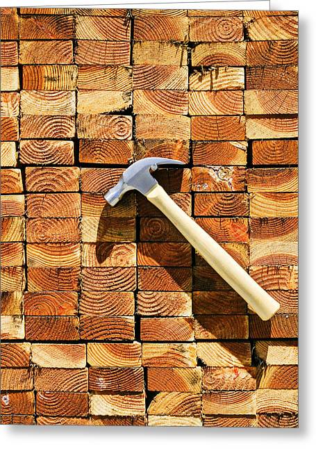 Hammer And Stack Of Lumber Greeting Card by Garry Gay