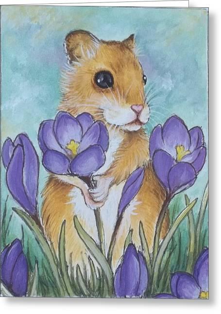 Hamster Picking Purple Crocus Greeting Card by Debrah Nelson