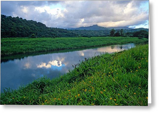 Hanalei River Reflections Greeting Card by Kathy Yates
