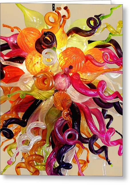 Hand Blown Light Fixture Greeting Card by Linda Phelps