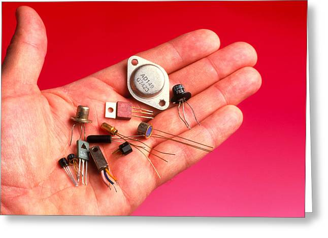 Hand Holds Transistors From The 1960s To 1990s Greeting Card