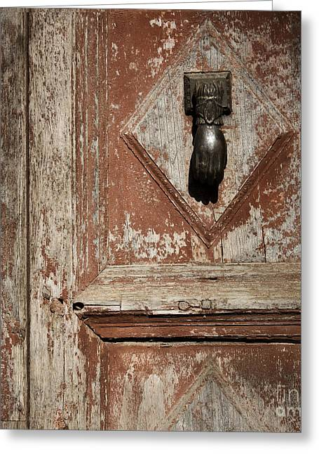 Hand Knocker And Weathered Wooden Doors Greeting Card by Agnieszka Kubica