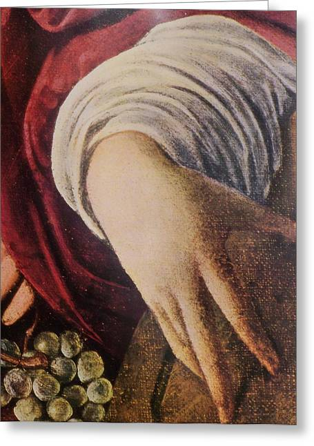 Hand Of The Lute Player From The Musicians Caravaggio Greeting Card by Jake Hartz