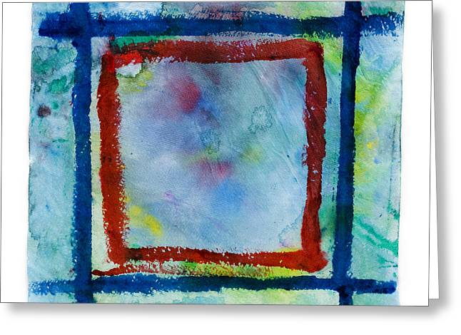 Hand Painted Square Frame   Greeting Card