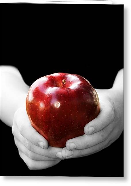 Hands Holding Apple Greeting Card