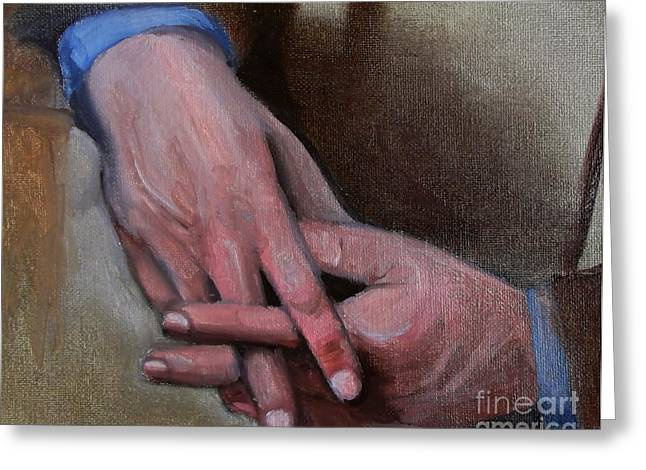 Hands In Oils Greeting Card by Kostas Koutsoukanidis