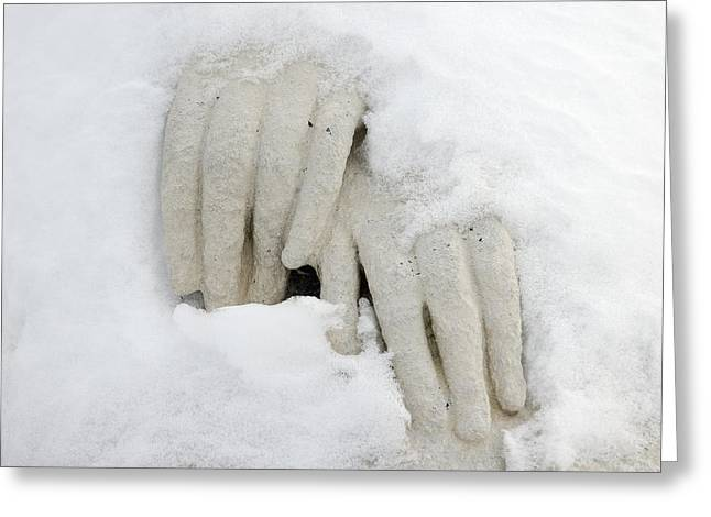 Hands Of A Statue Covered With Snow Greeting Card by Matthias Hauser