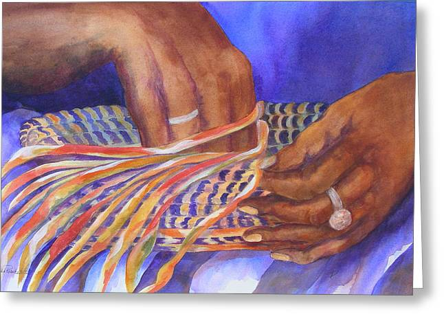 Hands Of The Basket Weaver Greeting Card