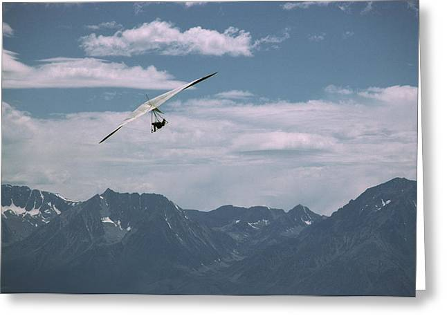 Hang Glider Pilot Flies In Front Greeting Card