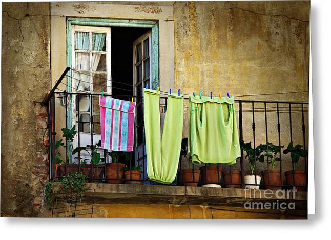 Hanged Clothes Greeting Card by Carlos Caetano