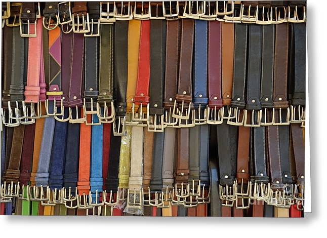 Hanging Colorful Leather Belts Greeting Card by Sami Sarkis