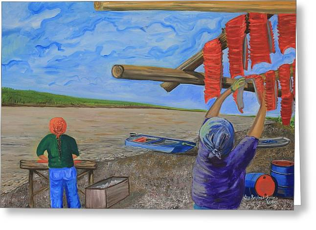 Hanging Salmon On The Yukon River Greeting Card by Amy Reisland-Speer