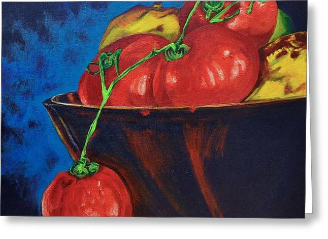 Hanging Tomato Greeting Card by Theresa Eisenbarth