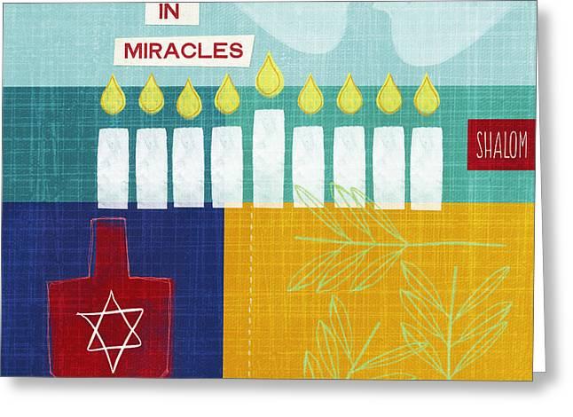 Hanukkah Miracles Greeting Card by Linda Woods