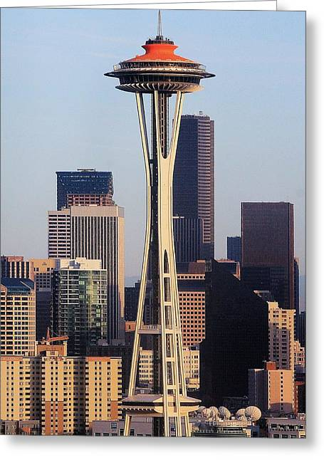 Happy 50th Space Needle Greeting Card by Benjamin Yeager