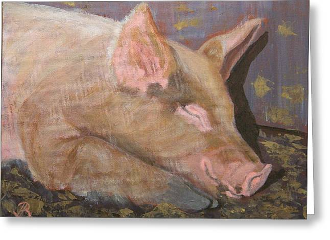 Greeting Card featuring the painting Happy As A Pig by Joe Bergholm
