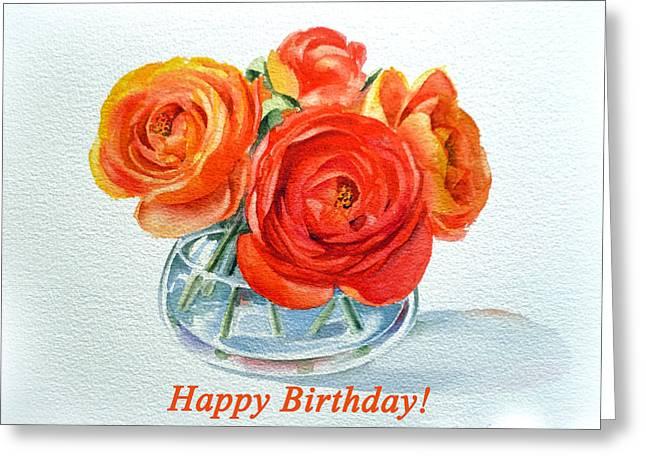 Happy Birthday Card Flowers Greeting Card