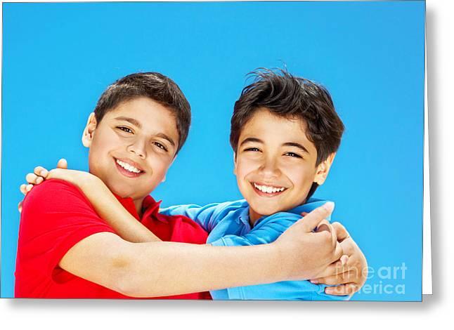Happy Cute Boys Over Blue Sky Greeting Card by Anna Om