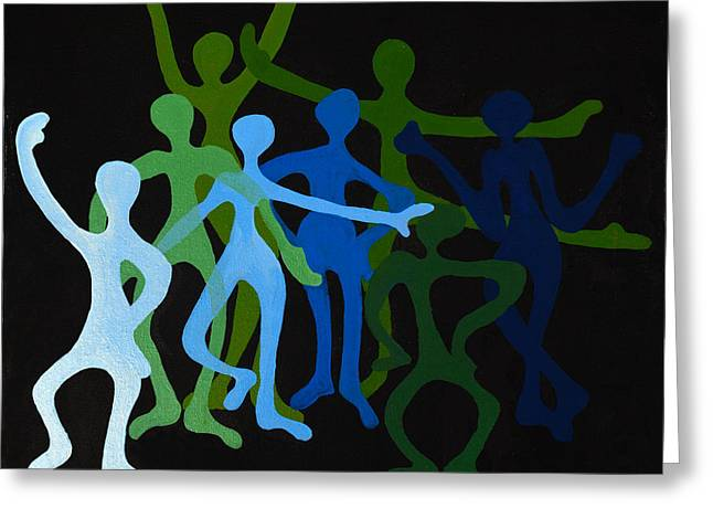 Happy Dancers Greeting Card by Michelle Wiarda
