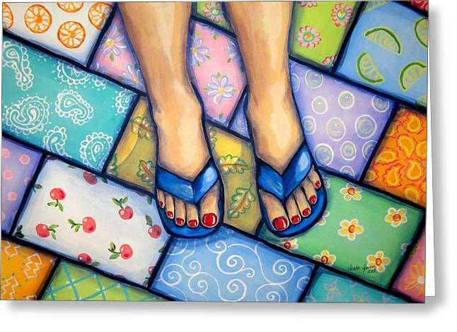 Happy Feet Greeting Card by Sandra Lett