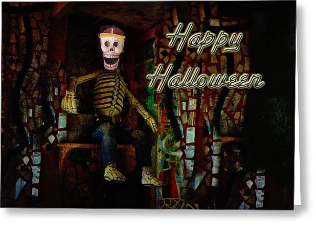 Happy Halloween Skeleton Greeting Card Greeting Card by Mother Nature