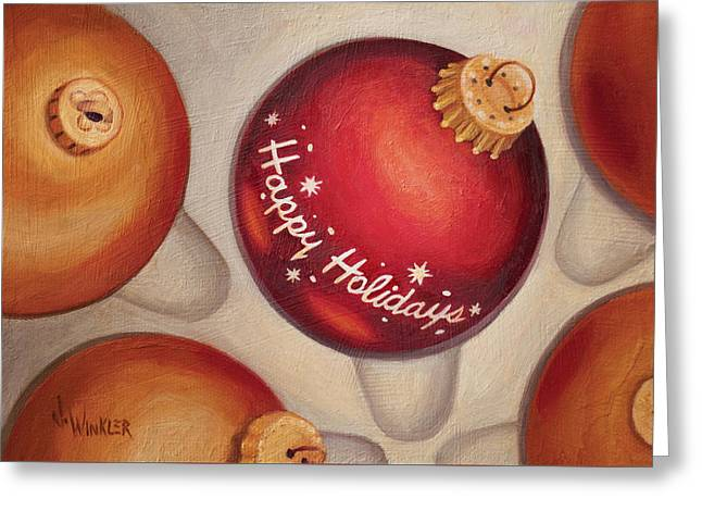 Greeting Card featuring the painting Happy Holidays by Joe Winkler