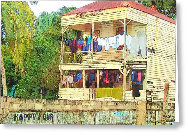 Happy Hour Washday Belize Greeting Card by Rebecca Korpita