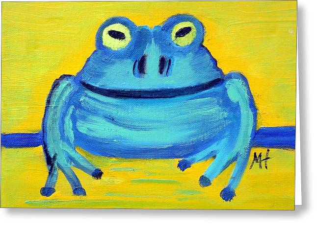 Greeting Card featuring the painting Happy Male Frog by Margaret Harmon