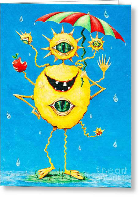 Happy Monster In The Rain Greeting Card by Melle Varoy