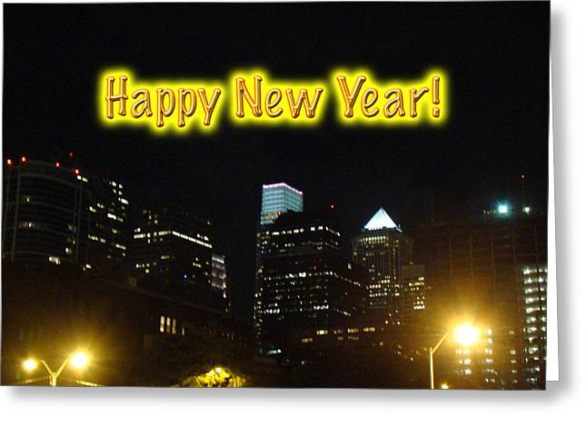 Happy New Year Greeting Card - Philadelphia At Night Greeting Card by Mother Nature