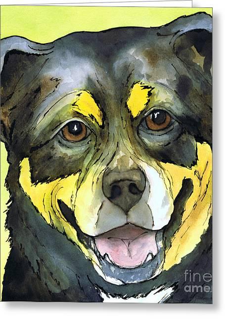 Happy Rottweiler Dog Greeting Card by Cherilynn Wood
