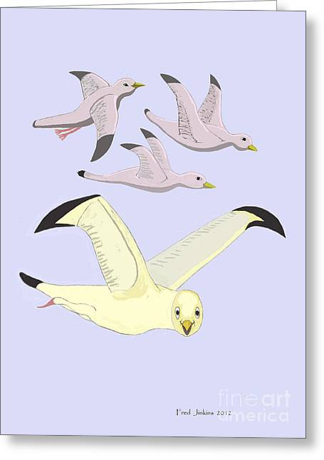 Happy Seagulls Greeting Card by Fred Jinkins